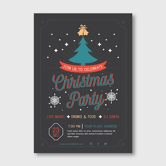 Christmas party flyer template with illustrated tree