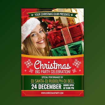 Christmas party flyer template with photo