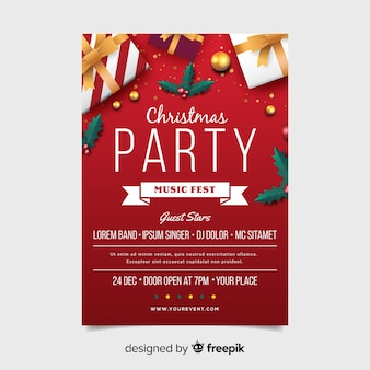 Christmas party flyer template with ribbon in flat design