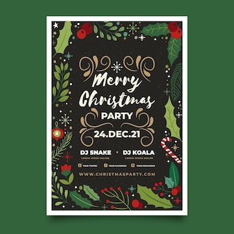 Christmas party flyer with drawn elements