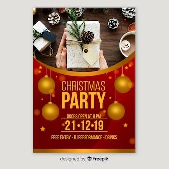 Christmas party flyer with gifts