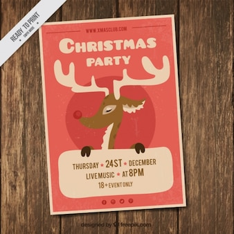 Christmas party flyer with nice reindeer