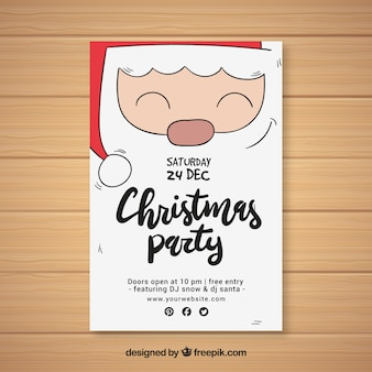 Christmas party flyer with santa's face