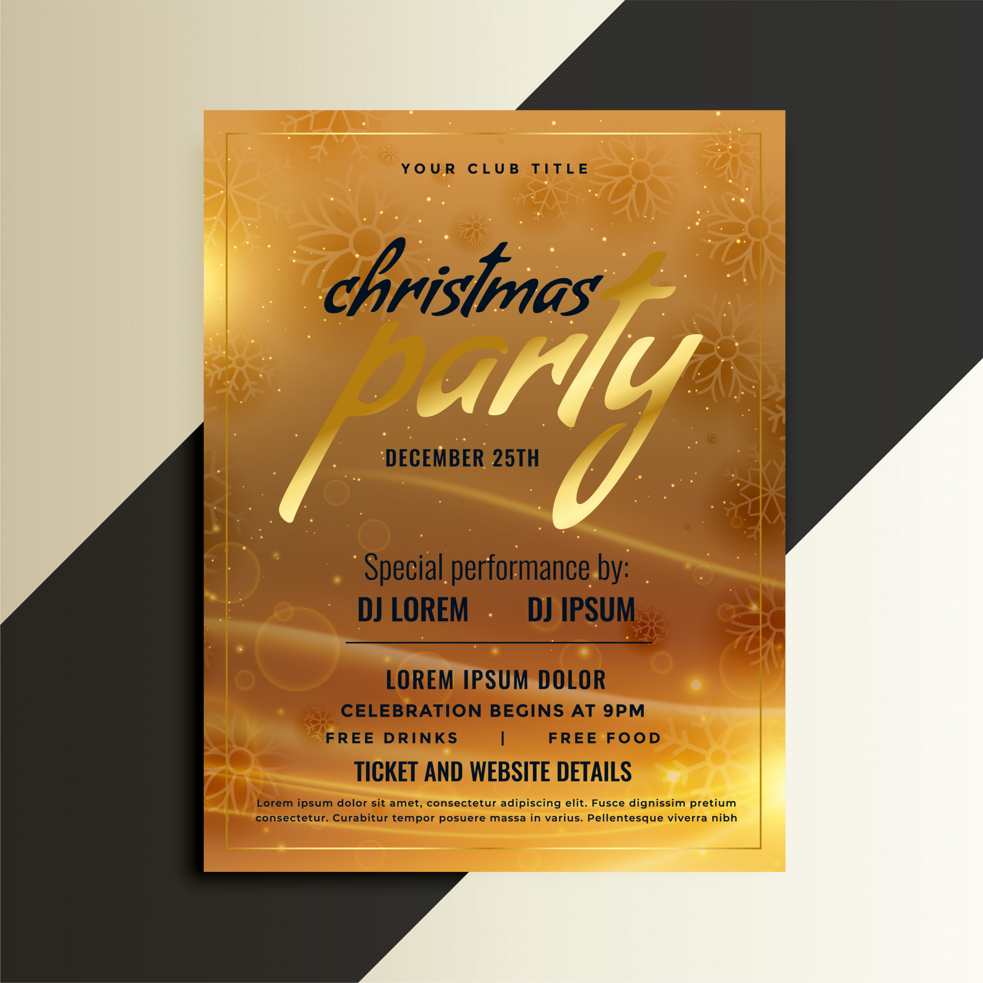 Christmas party golden flyer template design