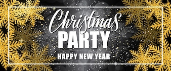Christmas party Happy New Year lettering in border