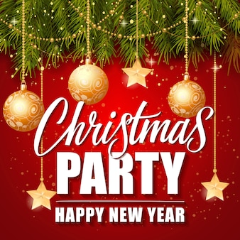 Christmas Party Happy New Year Lettering