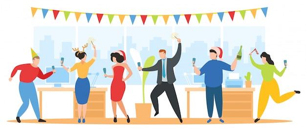 Рождественская вечеринка в офисе иллюстрации, команда счастливых корпоративных людей празднуют, танцуют, веселятся на новогоднем празднике