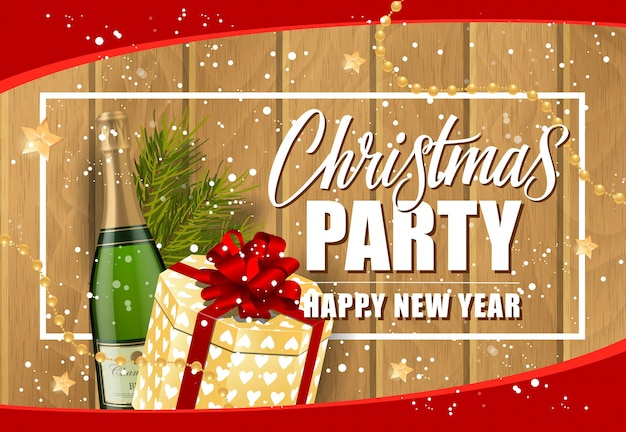 Christmas party inscription and champagne