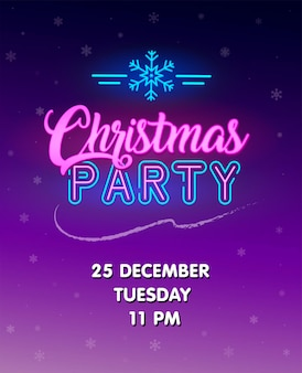 Christmas party invitation. glowing neon sign. vector poster. glowing text with neon snowflake sign