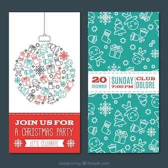 Рождественская вечеринка приглашения в каракули стиль