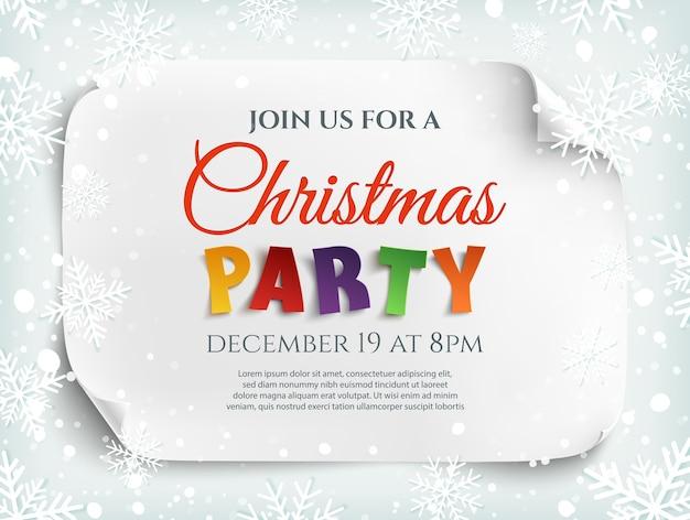 Рождественская вечеринка приглашение плакат, флаер или шаблон брошюры. белый изогнутый, бумажный баннер, свиток.
