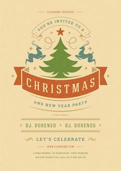 Рождественская вечеринка приглашения ретро типографии и элементы декора. рождественские праздники событие флаер или плакат.