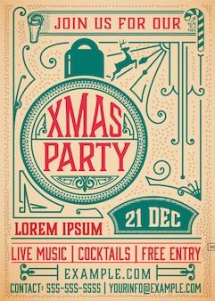 クリスマスパーティーの招待状のレトロなタイポグラフィと飾りの装飾