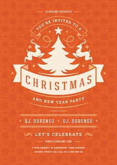 Christmas party invitation retro typography and decoration elements. christmas holidays event flyer or poster .