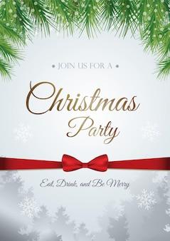 Фон шаблона приглашения рождественской вечеринки с еловыми ветками и ледяным блеском