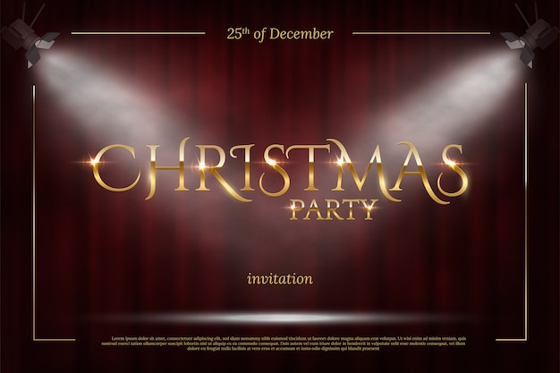 Christmas party invitation template, golden frame with spot lights on red curtain background.
