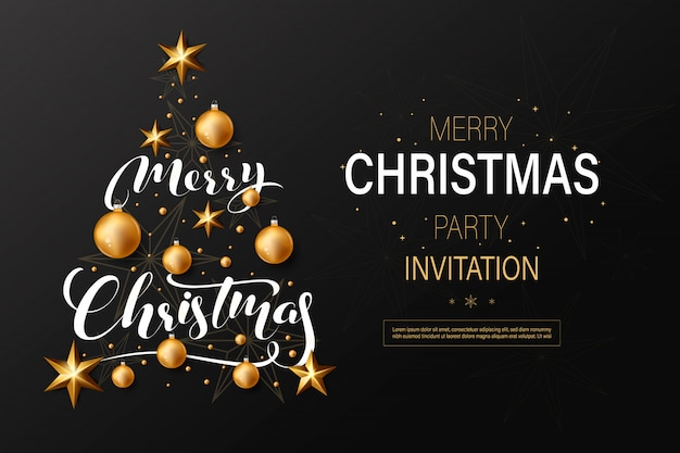 Christmas party invitation with golden christmas balls