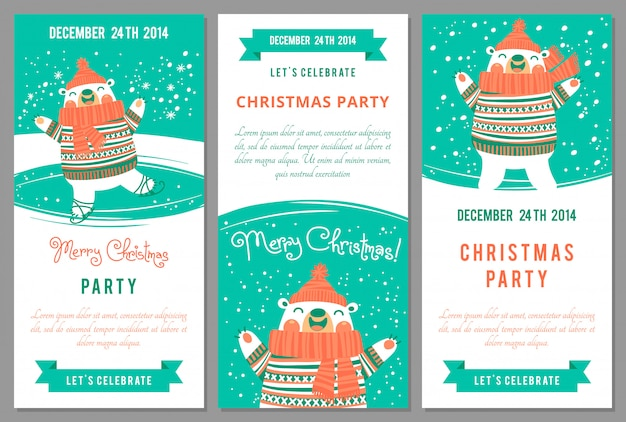 Christmas party invitations in cartoon style.