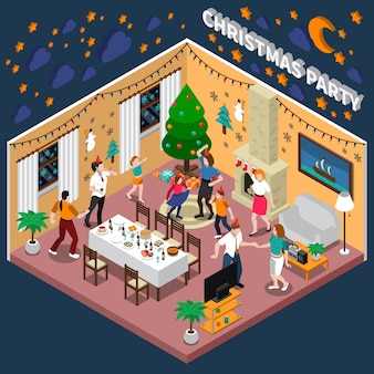 Christmas party isometric illustration