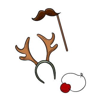 Christmas party items moustache reindeer horns and rudolph nose doodle elements