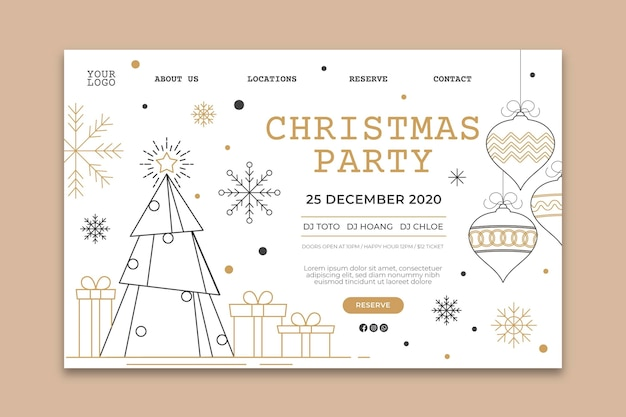 Christmas party landing page template