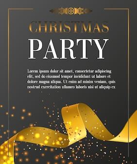 Рождественская вечеринка надписи в рамке на черном фоне