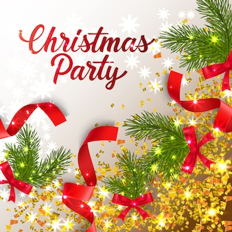 Christmas Party lettering with confetti and fir-tree twigs