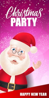 Christmas party lettering with santa claus