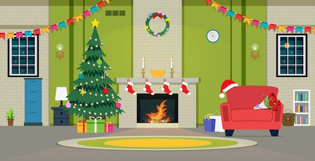 Christmas party in the living room with fireplace