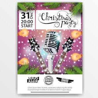 Christmas party. modern, bright poster with guitars and microphone