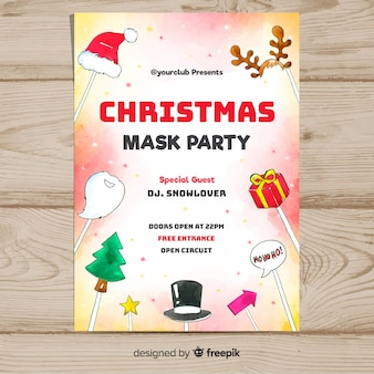 Christmas party photocall elements poster template