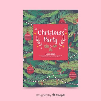 Christmas party pine leaves flyer template