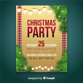 Christmas party plaid sides flyer template