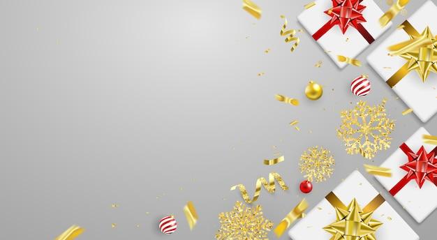 クリスマスパーティポスターと新年の背景。