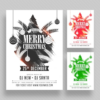 Christmas party poster, banner or flyer design in three color options.
