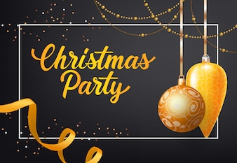 Christmas Party poster design. Gold baubles, chains
