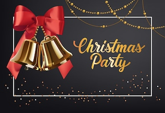 Christmas Party poster design. Gold jingles with red bow
