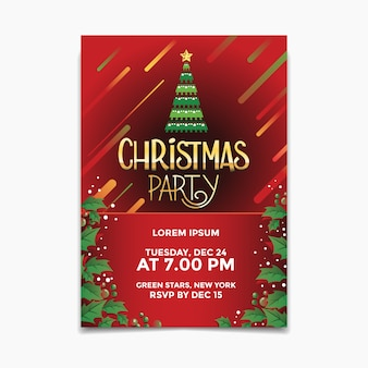 Christmas party poster and flyer with christmas tree