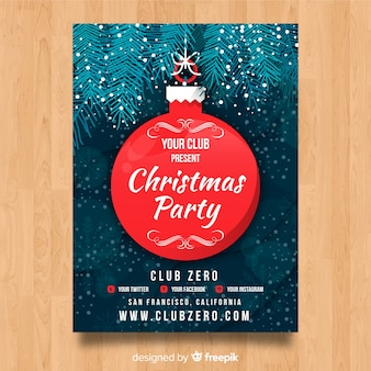Christmas party poster hanging ball template
