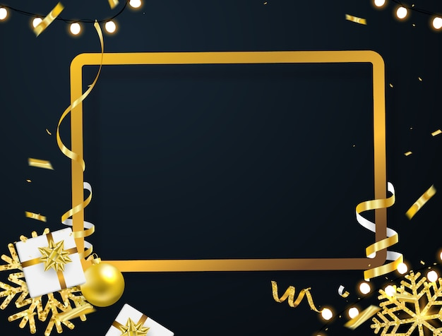 Christmas party poster and happy new year background.