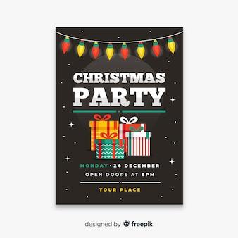 평면 디자인의 크리스마스 파티 포스터