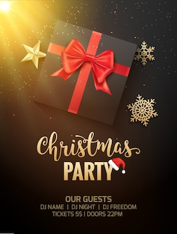 Christmas party poster invitation decoration gift box. xmas holiday template background with snowflakes.