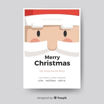 Christmas party poster santa claus face template