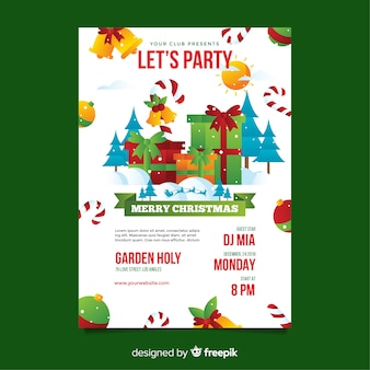 Christmas party poster template in flat style