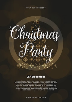 Christmas party poster template, gold and silver on black with written lettering