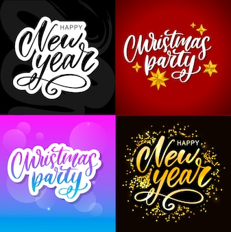 Christmas party poster template. hand written lettering, sparkling typography.