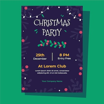 フラットなデザインのクリスマスパーティーポスターテンプレート