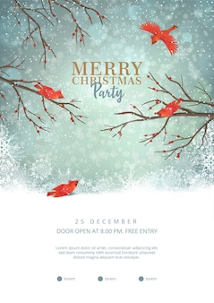 赤い鳥と冬のシーンのクリスマスパーティーポスターテンプレート
