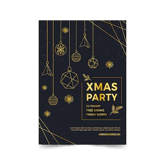 Christmas party poster template in outline style