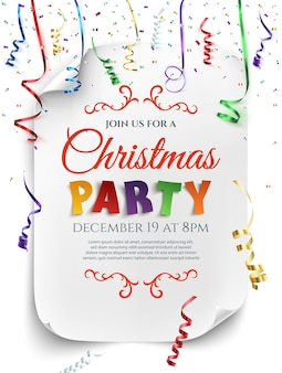 Christmas party poster template with confetti and colorful ribbons isolated on white background.